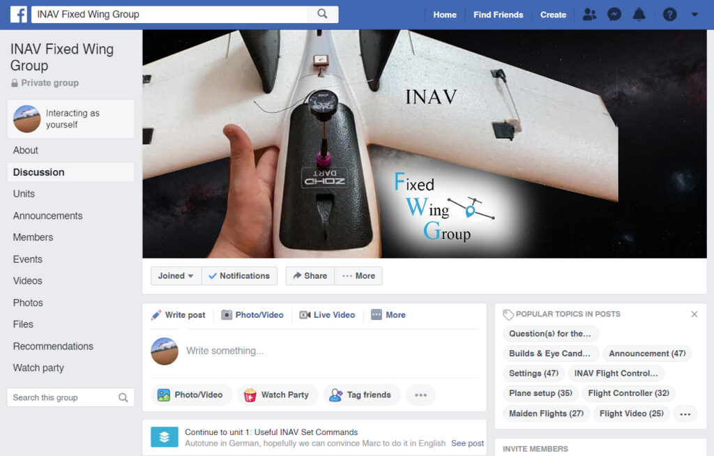INAV Fixed Wing Group Facebook Page