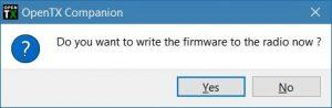 OpenTX Companion - Write the firmware now?