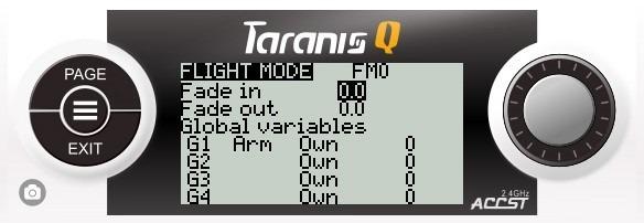 FrSky Taranis Q-X7 showing global variables