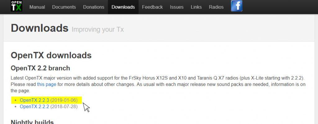 OpenTX Companion download page