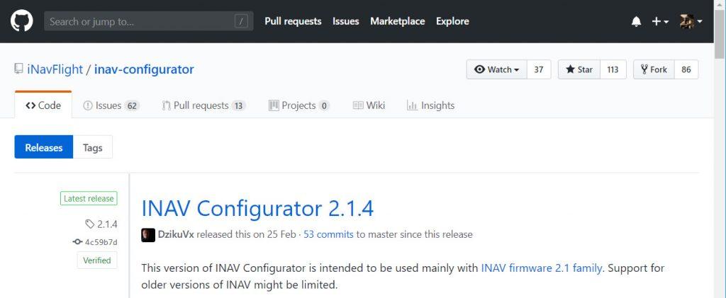 INAV Configurator download page