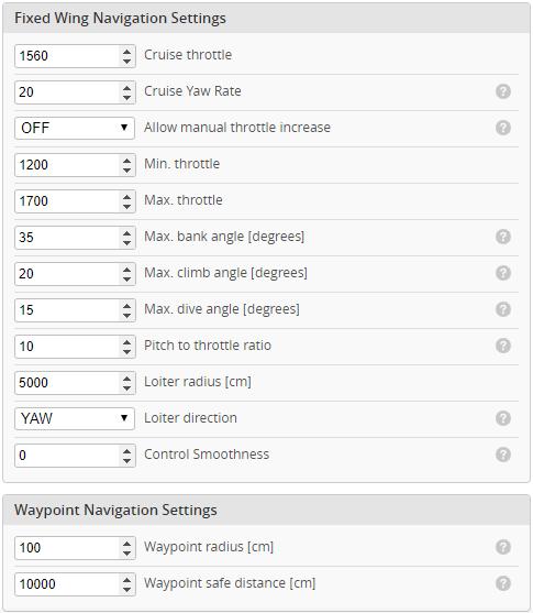 INAV 2.6 Fixed Wing Navigation settings